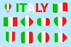 Italy flag vector set. Collection of italian national flags. Flat isolated icons. Country name in traditional colors. Illustration stock illustration
