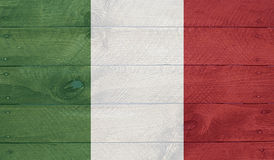 Italy flag on wood boards with nails Royalty Free Stock Image