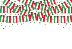 Italy flags garland white background with confetti. Hang bunting for Italy Day celebration template banner, Vector illustration Stock Photos