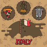 Italy Flat Icons Design Stock Photos