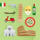 Italy flat icons Stock Image