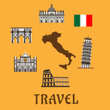 Italy flat travel symbols and icons Royalty Free Stock Image