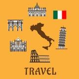 Italy flat travel symbols and icons Royalty Free Stock Image