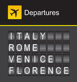 Italy flip alphabet airport departures, Rome, Venice, Florence Royalty Free Stock Photos