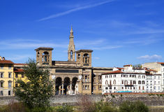 Italy. Florence. The ancient building of national library on Arno River Embankment Stock Images
