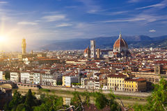 Italy. Florence. Ancient houses and Cathedral Santa Maria del Fiore Royalty Free Stock Photo