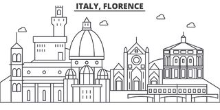 Italy, Florence architecture line skyline illustration. Linear vector cityscape with famous landmarks, city sights. Design icons. Editable strokes Stock Photography