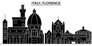 Italy, Florence architecture vector city skyline. Italy, Florence architecture vector city skyline, black cityscape with landmarks, isolated sights on Royalty Free Stock Images