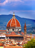 Italy. Florence. Cathedral Santa Maria del Fiore against the cloudy sky Royalty Free Stock Photography