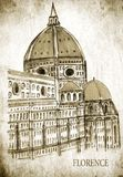 Italy. Florence. City sketch stylized as an old postcard. Vintage postcard Royalty Free Stock Images