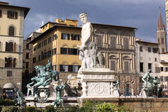 Italy. Florence city streets. Fountain of Neptune in Piazza della Signoria. Piazza della Signoria is an L-shaped square in front of the Palazzo Vecchio in Stock Image