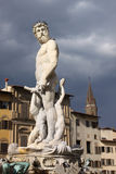 Italy. Florence city streets. Fountain of Neptune in Piazza della Signoria. Piazza della Signoria is an L-shaped square in front of the Palazzo Vecchio in Stock Photo