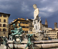 Italy. Florence city streets. Fountain of Neptune in Piazza della Signoria. Piazza della Signoria is an L-shaped square in front of the Palazzo Vecchio in Royalty Free Stock Photo