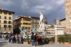 Italy. Florence city streets. Fountain of Neptune in Piazza della Signoria Stock Photo
