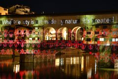 Italy, Florence, December 2018: The famous Ponte Vecchio of Florence illuminated in occasion of F-Light - Festival of Lights royalty free stock photography