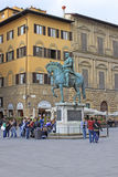 Italy. Florence. Equestrian statue of Cosimo I de 'Medici, Grand Duke of Tuscany Stock Images