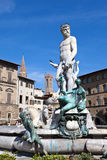 Italy.Florence.Fountain of Neptune on Piazza della Signoria Stock Photography