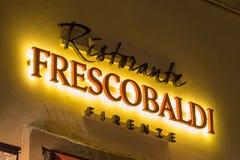 ITALY FLORENCE FRESCOBALDI. ITALY - FLORENCE - SEPTEMBER 3: Frescobaldi restaurant sign in Florence Italy 03 September 2018 Stock Photos
