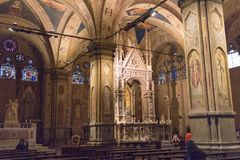 Interior of Orsanmichele Church. Florence, Tuscany, Italy royalty free stock photos