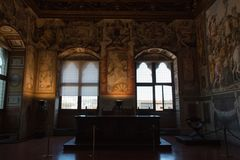 Audience Chamber or Hall of Justice in the Palazzo Vecchio, Florence, Italy. stock image