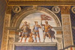 Fresco by Domenico Ghirlandaio in 1482 of Sala dei Gigli in Palazzo Vecchio, Florence, Tuscany, Italy. Royalty Free Stock Photography