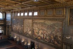 Frescoes by Giorgio Vasari in the Salone dei Cinquecento at Palazzo Vecchio, Florence, Italy. Royalty Free Stock Images