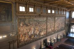 Frescoes by Giorgio Vasari in the Salone dei Cinquecento at Palazzo Vecchio, Florence, Italy. royalty free stock photography