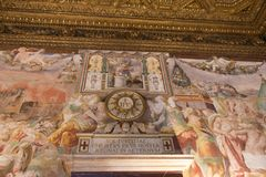 Frescoes in the Sala dell`Udienza in the Palazzo Vecchio, Florence, Italy. royalty free stock photos
