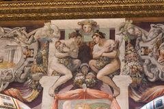 Frescoes in the Sala dell`Udienza in the Palazzo Vecchio, Florence, Italy. royalty free stock image