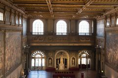 The Salone dei Cinquecento at Palazzo Vecchio, Florence, Italy. Stock Image