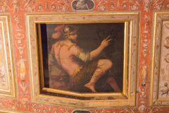 Wall fresco of the Sala di Giove, Palazzo Vecchio, Florence, Italy. stock photo