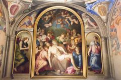 Wall frescoes in the Eleonora`s Chapel, Palazzo Vecchio, Florence, Italy. royalty free stock image