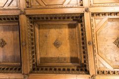 Wooden ceiling fragment in the Hall of geographical maps of Palazzo Vecchio, Florence, Tuscany, Italy. royalty free stock photos