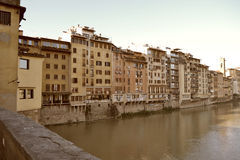 Italy. Florence, Italy - November 2016: the contrasts of Florence. View of the Arno river stock images