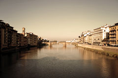 Italy. Florence, Italy - November 2016: view of the Arno river. The beauty of the Tuscan Royalty Free Stock Photography
