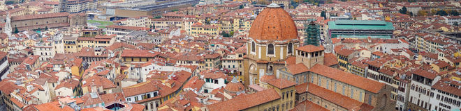 Italy. Florence. Panoramic view seen from the observation platform Duomo, Cathedral Santa Maria del Fiore. Stock Image