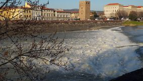 Italy Florence River Arno waterfall.  stock footage