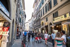 ITALY FLORENCE STREET LIFE. ITALY - FLORENCE - SEPTEMBER 3: People are enjoying the streets in Florence Italy on September 3 2018 Royalty Free Stock Photography
