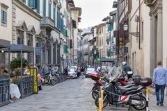 ITALY FLORENCE STREET LIFE. ITALY - FLORENCE - SEPTEMBER 3: People are enjoying the streets in Florence Italy on September 3 2018 Stock Photography