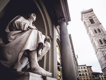 Italy Florence Statue of Filippo Brunelleschi and Giotto's bell Royalty Free Stock Images
