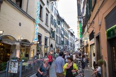 ITALY FLORENCE STREET LIFE. ITALY - FLORENCE - SEPTEMBER 3: People are enjoying the streets in Florence Italy on September 3 2018 Royalty Free Stock Photos