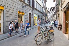ITALY FLORENCE STREET LIFE. ITALY - FLORENCE - SEPTEMBER 3: People are enjoying the streets in Florence Italy on September 3 2018 Royalty Free Stock Images