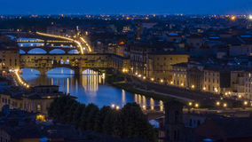 Italy Florence sunset and night view Royalty Free Stock Photo