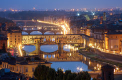 Italy, Florence, Tuscany,. Night view stock photo