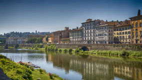 Italy,Florence, view across Arno from Uffizi Gallery. Italy,Tuscany,Florence,Ponte Vecchio bridge,view across the river Arno from the Uffizi gallery stock photos
