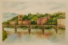Italy, Florence, watercolor. Stock Photo