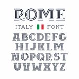 Italy font. Vector alphabet with latin letters stock illustration