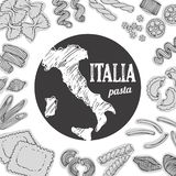 Food background, hand drawn set of italian pasta, pasta shapes, map, design elements collection. Italy food background, hand drawn set of italian pasta, pasta royalty free illustration