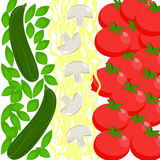 Italy Food Flag. Basil, zucchini, spaghetti, mushrooms, tomatoes. Flat Style Stock Photography