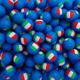 Italy football balls (many). 3D render background. Italy blue, green, red, white football balls (many). 3D render background stock illustration